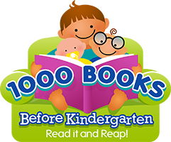 1000 books before kindergarten stylized kids on green couch