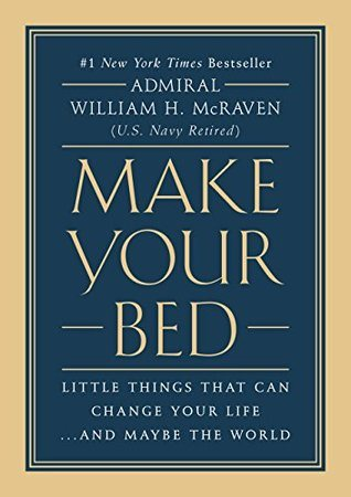 Plain Blue Background with a thick tan outline: The title Make Your Bed is prominently centered