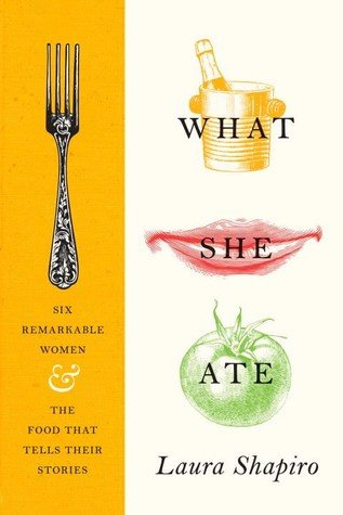 A fork is on the left with a yellow background while a white background and impressionistic style art depicting various foods is on the right. The title What She Ate is covering 3 pieces of food