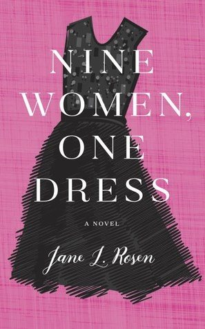a pink background with a black dress centered on the image. The title Nine Women One Dress overlaps the entire image