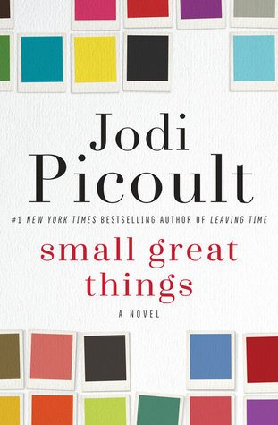 a white background and multi color squares surround the author name Jodi Picoult and title Small Great Things