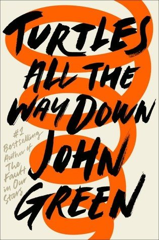 An orange spiral on a tan background is chaotically covered by the title Turtles all the way down John Greene
