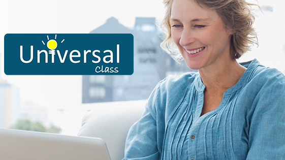 Smiling woman with the Universal Class Logo