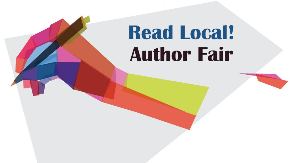 An arm made from various overlapping color swatches holding a pen. Text along the left saying Read Local Author Fair