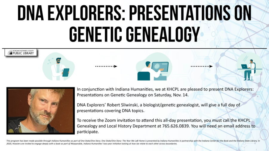 Genealogy and DNS themed background with face picture
