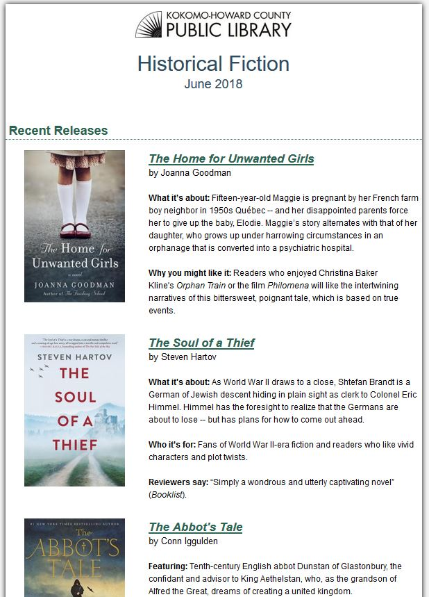 Screen shot of Next Reads Historical Fiction Newsletter