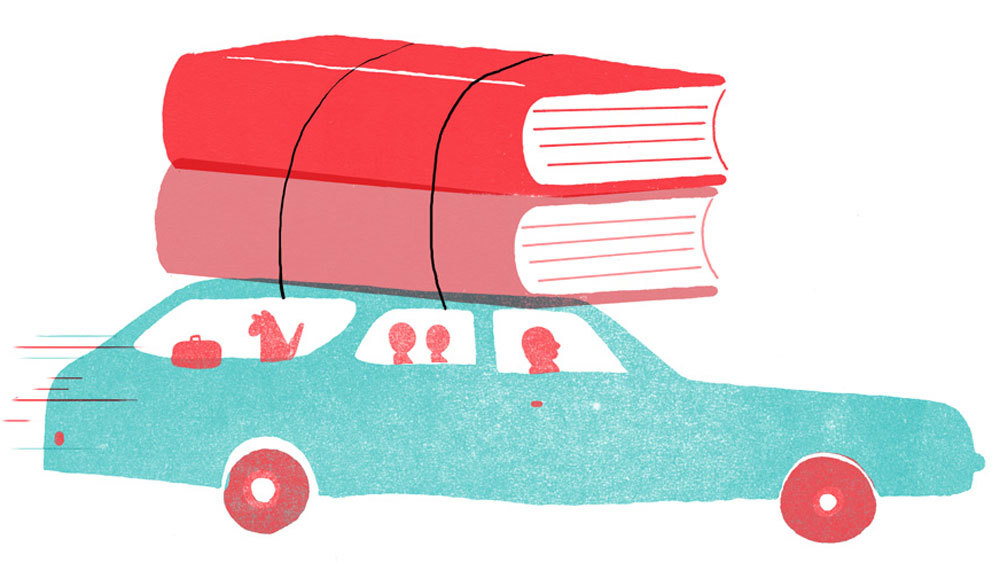 car with books