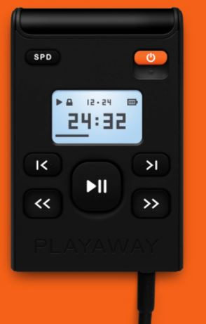 playaway device on an orange background
