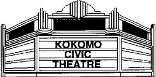 Black and white illustration of the Kokomo Civic Theatre sign