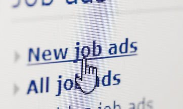 Close up photo of a computer screen showing a web browser. The text Job Ads is prominent